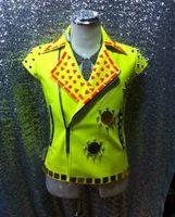 Wholesale Vest Leather Jackets For Men - Fall-Explosion! 2015 new nightclub bar DJ Singer fluorescence mirror drill rivet short-sleeved leather vest jacket for men