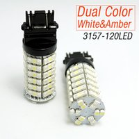 Wholesale Led Light Bulbs Toyota Camry - LEEWA 120SMD-1210 T25 3157 3057 3457 4157 White Amber Yellow Dual Color LED Turn Signal Light Bulbs SKU#:4006