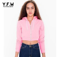 Wholesale Warm Short Women Jackets - Wholesale-Sport Women Cropped Hoodies Sweatshirt Tops Crop Top Long Sleeve Jacket Coat 2016 Autumn Winter Warm Hoodies Harajuku sudaderas