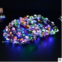 Wholesale Flowers Toys - 8 Colors Fashion Flower Headband Garland Girls LED Light Up Hair Band Headwear Hallowmas Party Toys YH1117