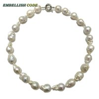 Wholesale Tissue Low - Normal size baroque pearl necklace tissue nucleated flame ball shape just white color low price 100% natural freshwater pearl choker