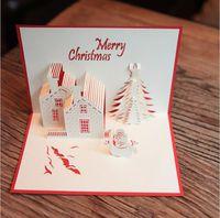 Wholesale 3d Souvenir - Christmas Cards 3D Pop Up Merry Christmas Series Handmade Custom Greeting Cards Christmas Gifts Souvenirs Postcards DHL free ship