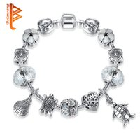 Wholesale Diy Pulseiras - BELAWANG Fashion Tortoise Love Heart Charms Bracelets&Bangles Clear Murano Glass Beads Bracelets For Women DIY Jewelry Pulseiras Wholesale