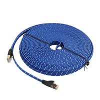 Wholesale internet connectors resale online - 15m CAT7 Ethernet Internet Network Patch LAN Flat Cable Cord For Computer Laptop