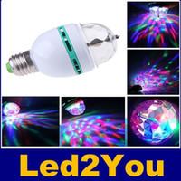 Wholesale Dj Laser Light Ball - Magic Ball RGB Full Color 3W E27 LED Bulb Crystal Auto Rotating Stage Effect DJ Light Bulb Mini laser Stage Light Projector