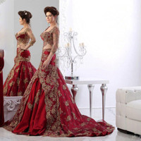 Wholesale Quarter Photo - Luxury Sweetheart Mermaid Robe De Soiree Plus Size Sweep Train Two Pieces Three Quarter Red Evening Dress