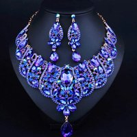 Wholesale Diamond South Africa - JW0045 Fashion Luxury africa wedding party Diamond Jewelry Sets Royal blue Necklace Earring Jewelry Sets Shipping by DHL