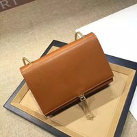 Wholesale Brown Female Leather Wallet - TOP Original Quality AAAAATASSEL SATCHEL Wholesale female Handbags PU leather CLASSIC CHAIN WALLET FLAP FRONT WALLET WITH METAL CHAIN