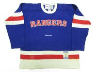 Wholesale Cheap Ripped Sweaters - Cheap custom NEW YORK RANGERS 1946 AWAY VINTAGE CCM SWEATER DAMAGED Mens Throwback jerseys