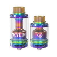 Wholesale E Cigarette New - Original Vandy vape Kylin RTA 24-26mm diameter rta vaporizer 2ml 6ml capacity E cigarette tank Glass tube atomizer new color gold rainbow