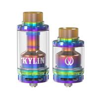 Wholesale E Cigarette Glass Tanks - Original Vandy vape Kylin RTA 24-26mm diameter rta vaporizer 2ml 6ml capacity E cigarette tank Glass tube atomizer new color gold rainbow