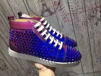Wholesale Floor Borders - High Top Gradient Spikes Casual Flats Red Bottom Luxury Shoes 2017 For Men and Women Party Designer Sneakers Lovers Patent Leather Casual Wa