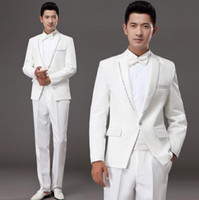 Wholesale Korean Formal Dresses Design - Wholesale- White korean diamond married formal dress set mens suits wedding groom men suit latest coat pant designs mens suits + pant + tie