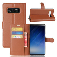 Wholesale Note Flip Cover Colors - PU Leather Wallet Phone Case With Card Holder Litchi Pattern Colors Flip Mobile Phone Cover For Iphone X For Samsung Note 8