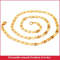 Wholesale Gold Chain 5mm - 18k gold plated 5mm flat stainless steel chain link necklace jewelry for men and women MJNL-067