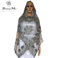 Wholesale Muslim Material - Wholesale- BM264!2017 New Muslim Embroidery Women Small Scarf,Gray Net Scarf for women,soft material small szie scarf