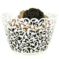 Wholesale Baking Cups Liners - 50pcs Multicolor Little Vine Lace Laser Cut Cupcake Wrapper Liner Baking Cup Wedding Birthday Tea Party Home Decoration Tools