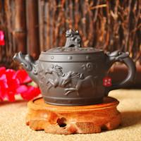Wholesale Horse Tea Set - Lion horse pot kongfu tea set purple clay kettle Yi xing authentic handmade Zisha pot Zhu mud pot 160cc