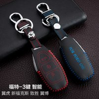 Wholesale Ford Focus Key Chains - For Ford Focus Kuga Ecosport Mondeo Hand-Sewing Genuine leather Remote Control Car Key chain Car key cover 3 Buttons Smart Auto Accessories