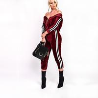 Wholesale Velvet Trousers Women - 2017 Winter Women Fashion Velvet Side Ribbon Zip Neck Hoddie Long Sleeve Pencil Trousers Two Piece Sport Tracksuits with Pockets