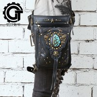 Wholesale Steampunk Bags - Steel Master Fanny Packs Women Men Rock Leather Shoulder Bag Gothic Retro Steampunk Messenger Handbag Coin Purse Waist Packs N12