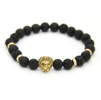 frühling 8mm großhandel-Neues Design 1 STÜCKE 8mm Lave Stein Perlen Gold Silber Rose Überzogene Lion Owl Beste Geschenk Armbänder