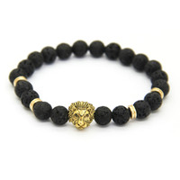 Wholesale 8mm Black Beads - New Design 1PCS 8mm Lave Stone Beads Gold Silver Rose Plated Lion Owl Best Gift Bracelets