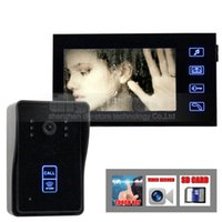 Wholesale Video Intercom Sd - Video Intercom Door Phone Record 7 Inch Video Doorbell Home Security Kit Touch Key Camera Monitor RFID Keyfobs SD Card