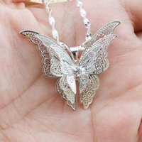 Wholesale 14k Butterfly Pendant - Mini $5 Beautiful 3 Layer 3D Crystal Rhinestone Silver Plated Butterfly Long Necklaces Sweater Pendants Collars Jewelry