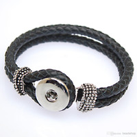 Wholesale Wholesale Weaves China - 2016 hot sale real leather bracelet fashion DIY button leather woven ginune snap button bracelet 18mm snap giner button interch