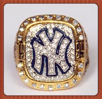 Wholesale Gold Stone Ring For Men - Bottom Price For Replica Newest Design 1999 Yankees Major League Baseball Championship Ring Replica Gold Plated Alloy Rings For Men