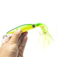 Wholesale Double Lure Skirts - 14cm Octopus Lure Fishing Lure Soft Skirt Bait Soft Bait Soft Sea Baits Fishing Tackle Trolling Lure Multiple color Matching Double Skirt