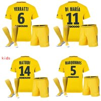 Wholesale Child Swim Shirt - 17 18 kids NEYMAR JR shirt AURIER T SILVA CAVANI DI MARIA PASTORE Verratti 2017 2018 child jersey football LUCAS Children soccer jerseys