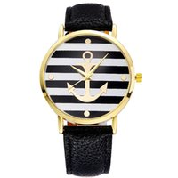 relógios âncora venda por atacado-Atacado âncora estilo vestido de genebra mulheres relógio subiu de cor de ouro Moda Assista mulheres vestido relógios de couro relógios