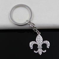Wholesale Antique Fleur Lis - Fashion diameter 30mm Key Ring Metal Key Chain Keychain Jewelry Antique Silver Plated fleur de lis saints 31*26mm Pendant