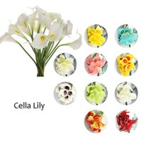 Wholesale Artificial Lily Flower Bouquet - Home Deco Artificial Flowers 10pcs lot Mini Calla Lily Bouquets for Bridal Wedding Bouquet Decoration Flowers