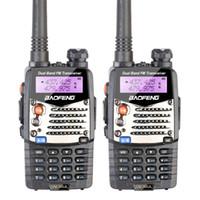transceptores de doble banda al por mayor-Wholesale-2PCS Nuevo Walkie Talkie Baofeng UV-5RA Para Escáner Radio VHF UHF Banda Dual Ham Radio Transceptor Auriculares Libres