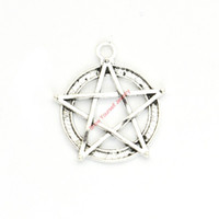 Wholesale Pentacle Charms Wholesale - 15pcs Antique Silver Plated Pentacle Star Charms Pendants for Bracelet Jewelry Making DIY Necklace Craft 31x28mm