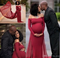 Wholesale Sexy Dresses For Pregnant Women - Burgundy Prom Dresses 2017 New Off The Shoulder Long Sleeve Maternity Women Party Dress Sweep Train For Pregnant evening Gowns Plus Size
