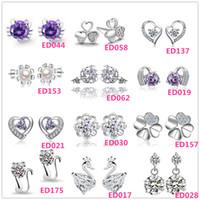 Wholesale Dating Beautiful Women - Beautiful 925 Silver small Cat Kitty Crystal Heart imitation Diamond flower Stud earings Cheap fashion Jewelry for women