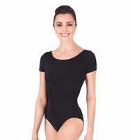 ingrosso tuta di un pezzo nero delle donne-All'ingrosso-Nero Body manica corta Donna Ginnastica Unitard Body adulto Balletto Body Plus Size One Piece Body