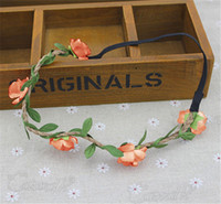 Wholesale Fresh Wreaths - Headdress Flower Boho Floral Flower Beach Womens Girls Hairband Headband Wedding Party Beach Sweet Fresh Woven Wreath Garland Garden Flowers