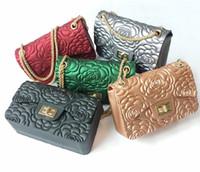 Wholesale camellia shoulder bags - New Trendy Women's Camellia Design Bag Fragrance Single Shoulder Chain Bag Matte Jelly Handbag Messenger Bags