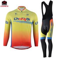 invierno ciclismo amarillo al por mayor-Chuangdi amarillo ciclismo hombres ropa de la bicicleta de manga larga conjunto de invierno ciclismo equipo de la bici ropa de ciclismo