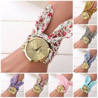 Wholesale Digital Watches For Girls - Watches for women ladies flower cloth wrist watch gold fashion women dress watches high quality fabric watch sweet girls women dress watch