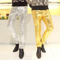 Wholesale Hip Nightclub - Wholesale-Gold Leather Pants Men Nightclub Fashion Slim Mens Gold Dance Pants for Men Hip Hop Leather Motorcycle Pants Male 3 Colors