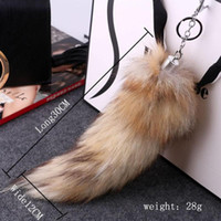 Wholesale Large Fox Tail - Charm Large Faux Fox Fur Tail Keychain Fashion Key Ring For Women Ladies Girls Handbag Pendants Key Chains Jewelry