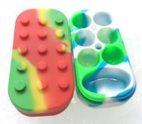 Wholesale rubber slicker - Super Silicone Concentrate Container Non Stick Large Slick Oil Wax Jar Dab 6+1 7 In 1 Solid Silicon Container WAX Container