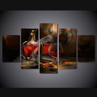 5 panel hd printed cigar bottle image painting canvas print room decor print poster picture canvas cheap wall frames