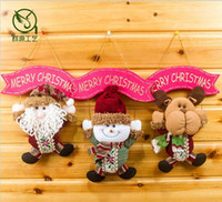 Wholesale Christmas Door Decor Wholesale - Merry Christmas Santa Claus snowman elk deer doll cloth pendant Party Decor props Door tree kid room ornaments HJIA882